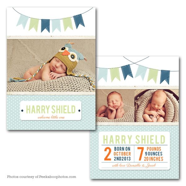 Cute Flags - Baby Announcement card template available through Jen - birth announcement template