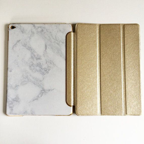 Gold With White and Grey Marble iPad Case iPad Smart Cover