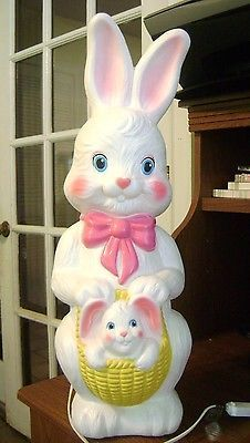 Empire Blow Mold Easter Bunny Rabbit Lighted Vintage 22