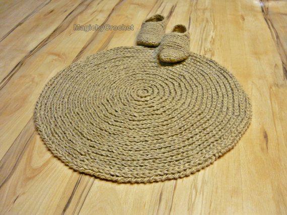 cottage rug round area rug handmade natural jute by. Black Bedroom Furniture Sets. Home Design Ideas
