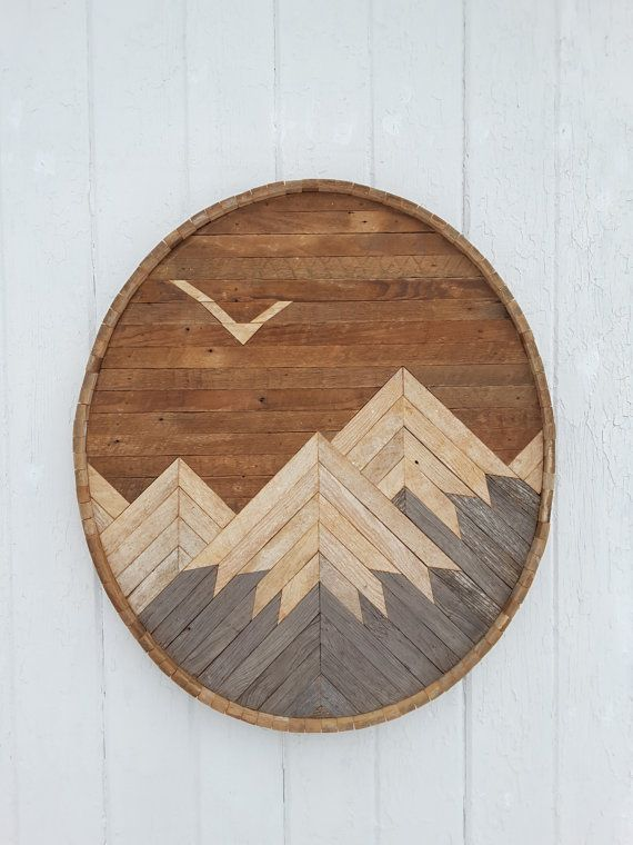 Reclaimed Wood Wall Art Mountain Range With Eagle Decor Barn Wood