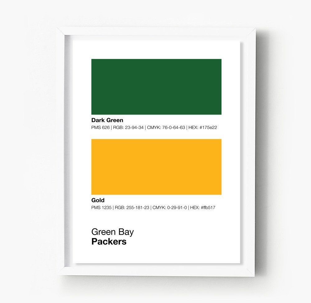 Green Bay Packers Gameday Colors Print Green Bay Packers Colors Colorful Prints Green Bay Packers