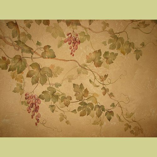 Decorative Wall Stencils grape vine stencil over decorative plaster. wall stencils for home