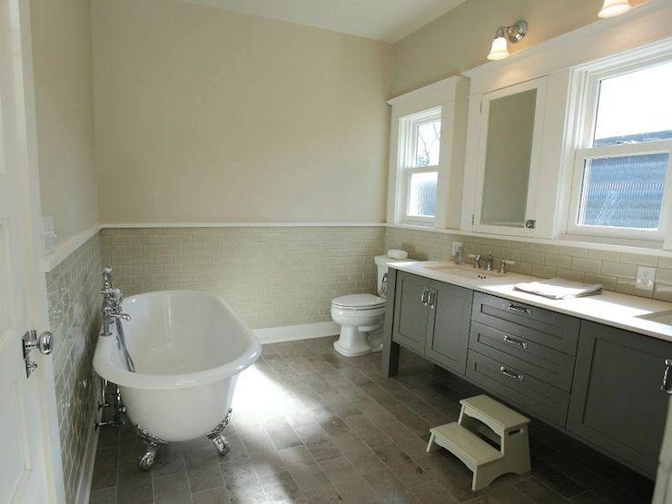 Gray Walls With Tan Tile Color Metropolis By Benjamin Moore Bathroom Design Contemporary Bathroom Bathrooms Remodel