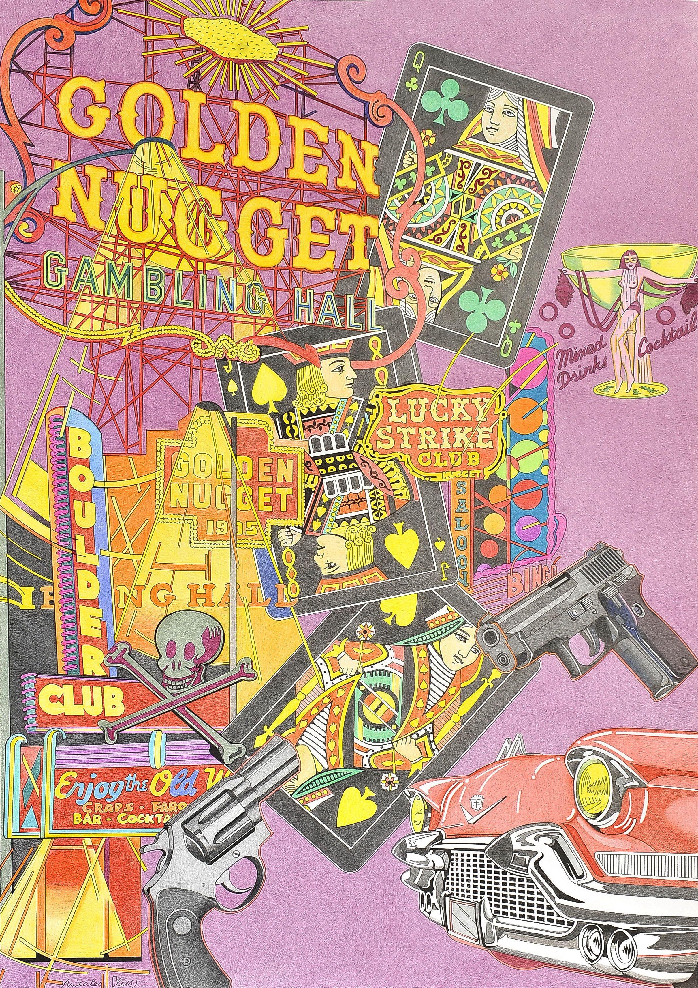 """""""Boulder Club y Golden Nugget"""" son dos míticos casinos de Las Vegas. Siempre quise representar el enorme luminoso del Golden. Aquí aparecen mezclados con revolveres y naipes negros (son dèco)."""