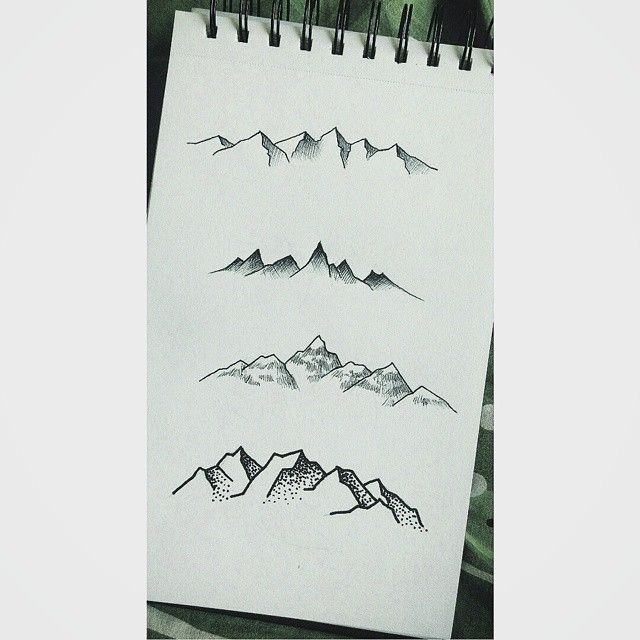 Some tiny mountain sketches from a little while ago for 3x3 tattoo ideas