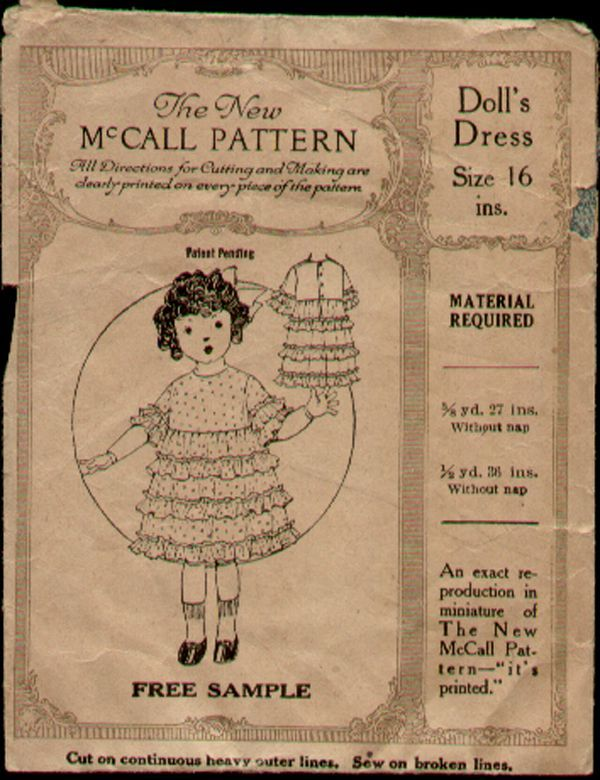 Vintage 1920s Sample McCall 16 inch Doll Dress Pattern   Dolls and ...