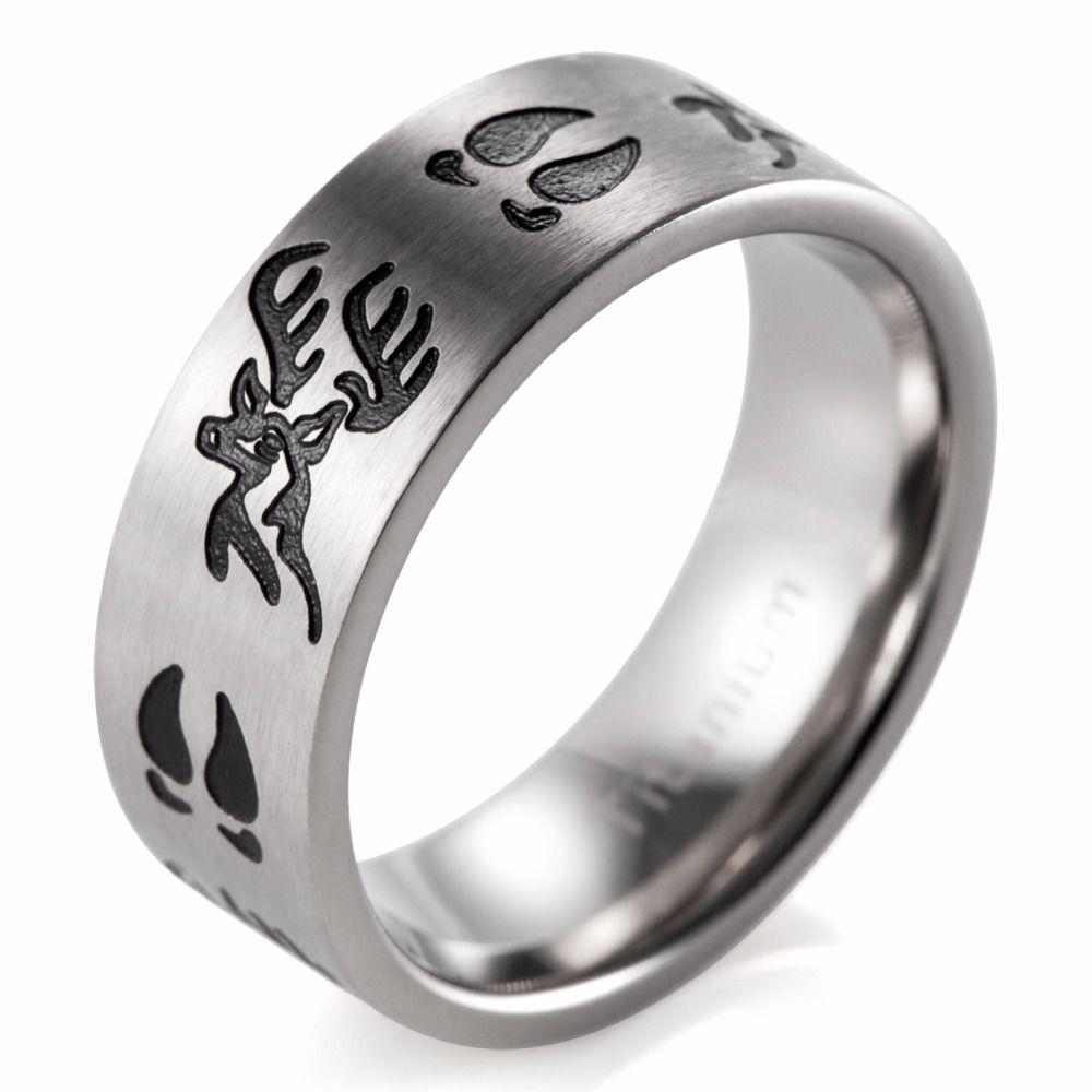 SHARDON Titanium Black Deer HeadTracks Ring Men jewelry Outdoor