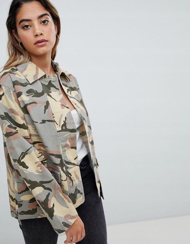 53m062 Xcl Jeansowa Kurtka Moro M 8594312212 Oficjalne Archiwum Allegro Jackets Womens Spring Coat Camo Print