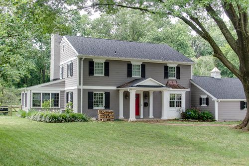 Traditional exterior photos red front door design - Colonial house exterior renovation ideas ...