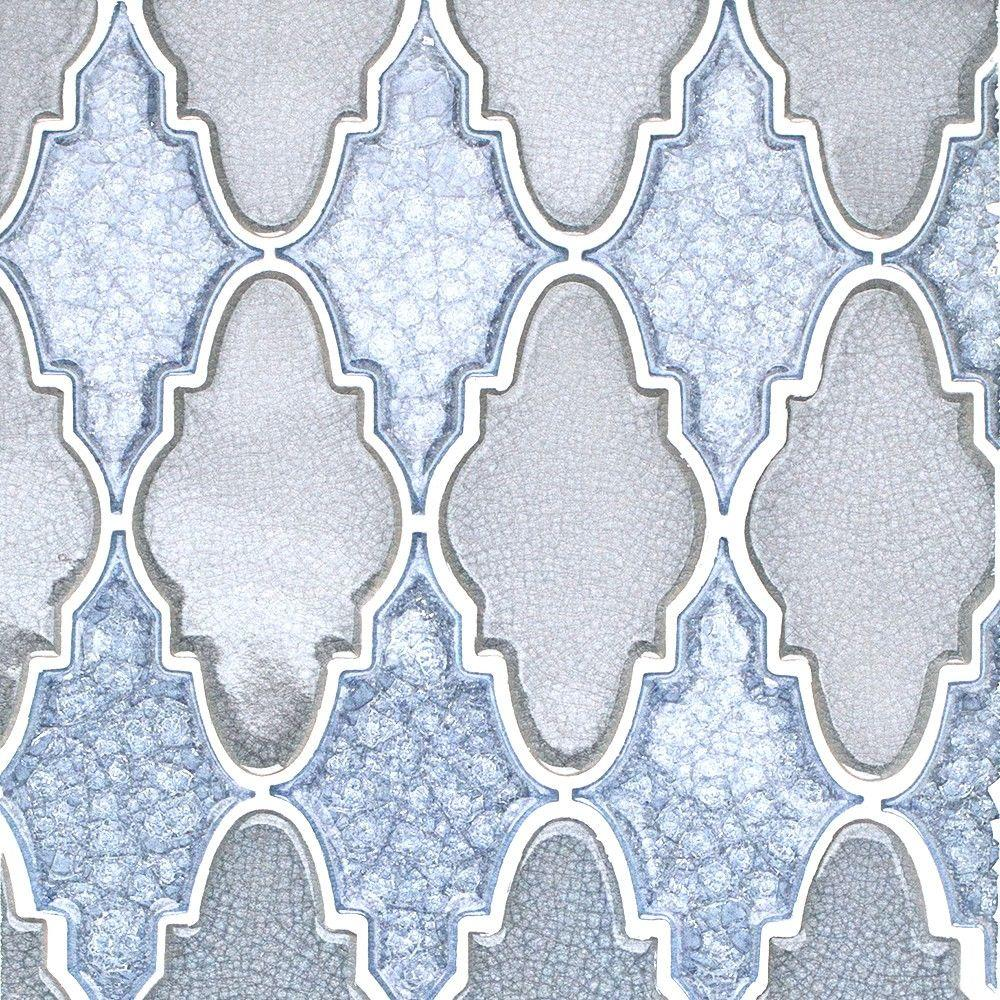 Splashback Tile Roman Selection Iced Blue Arabesque Glass Mosaic ...