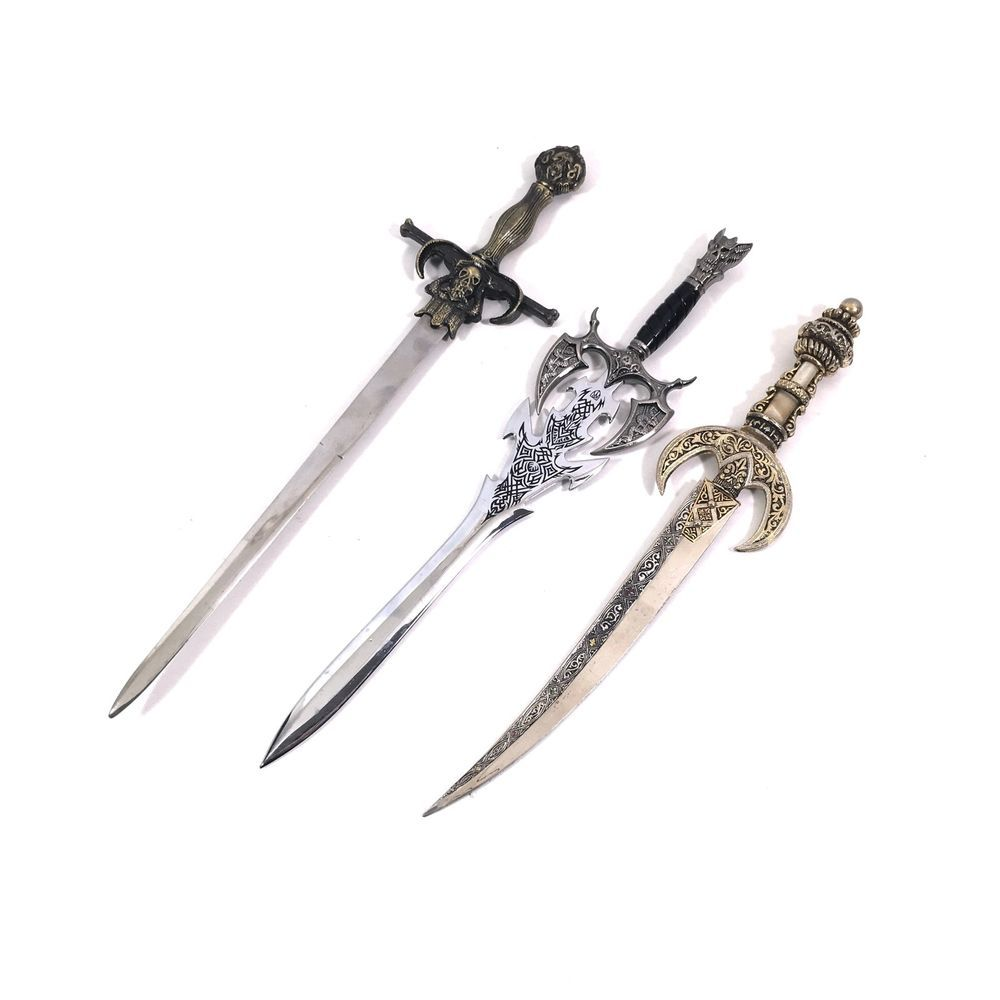 Beautiful Ornate Medieval Pewter Dagger-style Letter Opener w//sheath!