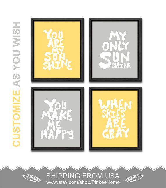 yellow and gray you are my sunshine nursery wall decor sunshine baby ...