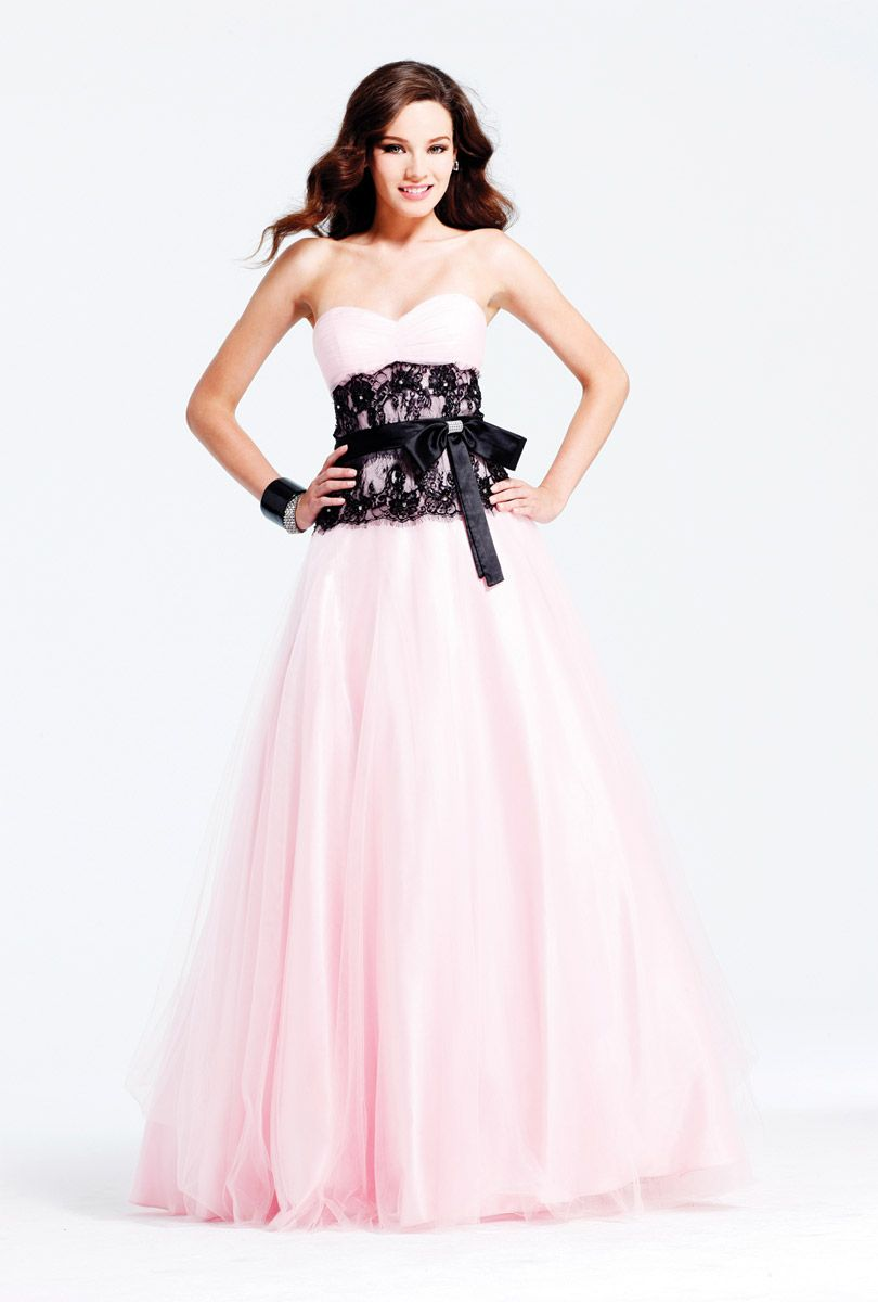 Cheap Pink and Black A-Line Sweetheart Floor Length Zipper Prom ...