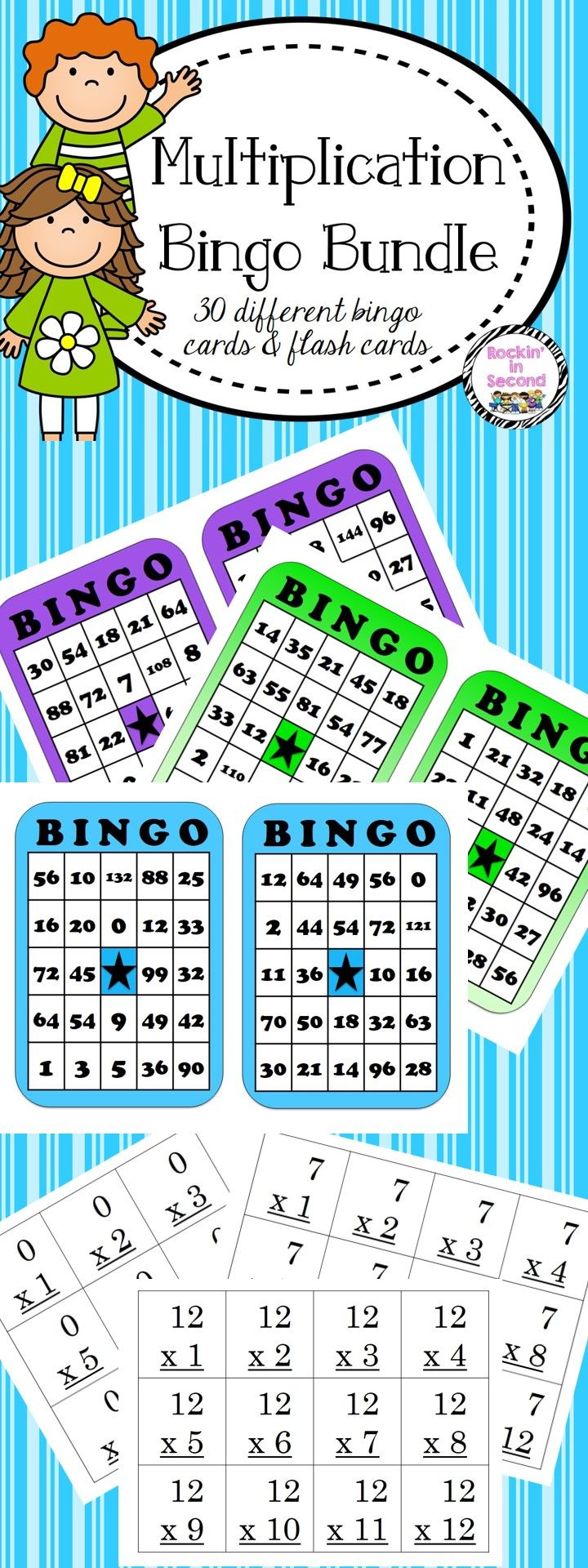 Multiplication Bingo & Flash Cards 0-12 | Rockin in Primary ...