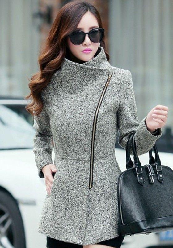 Light Grey Plain Pockets Tweed Coat - Outerwears - Tops