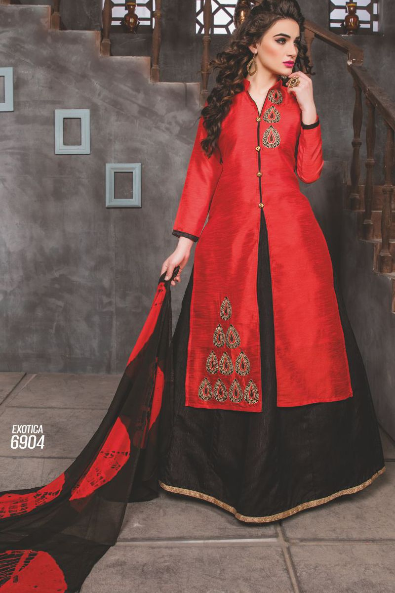 Red Designer Indo Western Style Dress With Embroidary Work Exotica Talrejas 6904