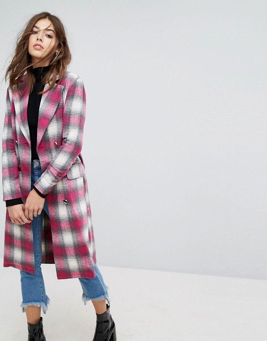 Karierter mantel rosa