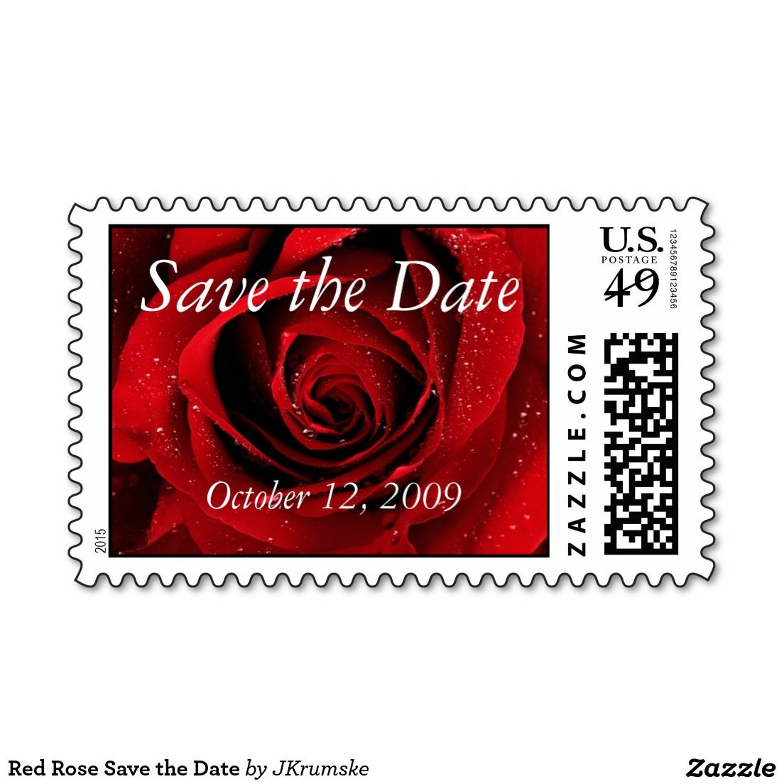 Red Rose Save the Date Postage | Floral Save The Date Wedding ...