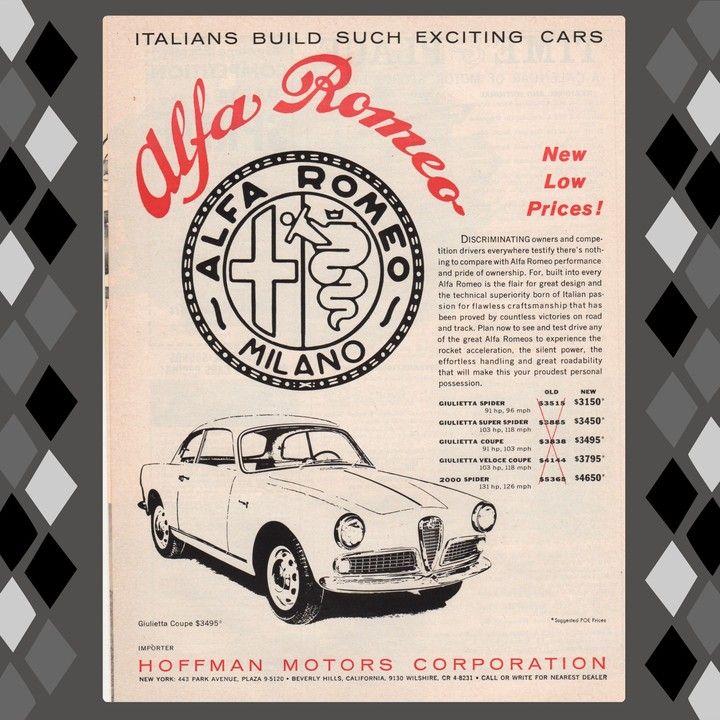 1961 Alfa Romeo Giulietta Spider Super Spider Veloce and Coupe ...