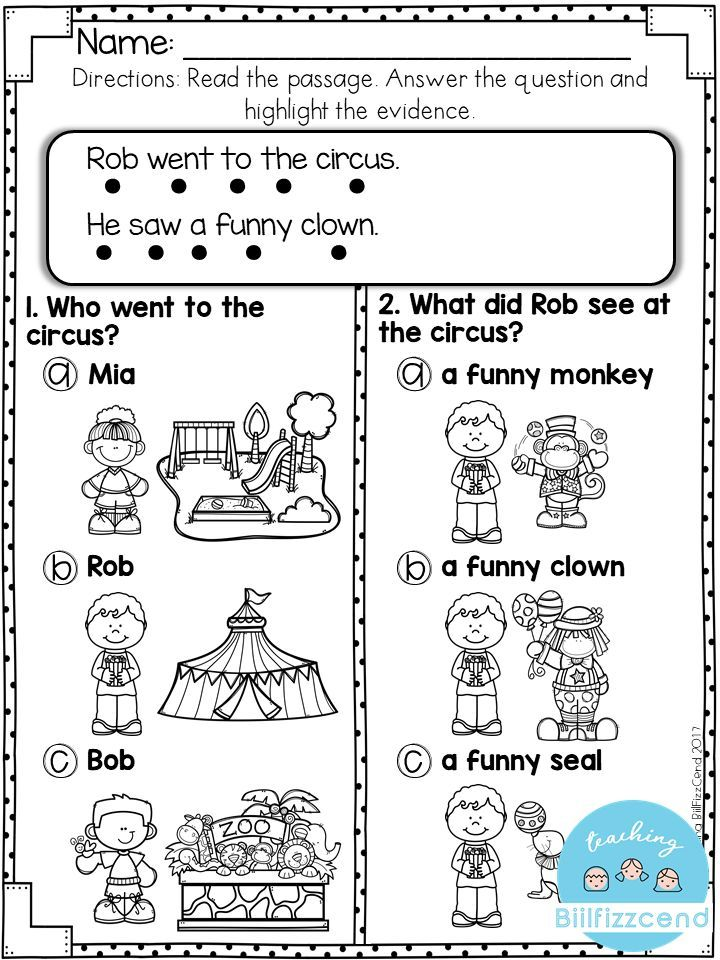 Free Reading Comprehension For Early Reader Reading Comprehension Kindergarten Reading Comprehension