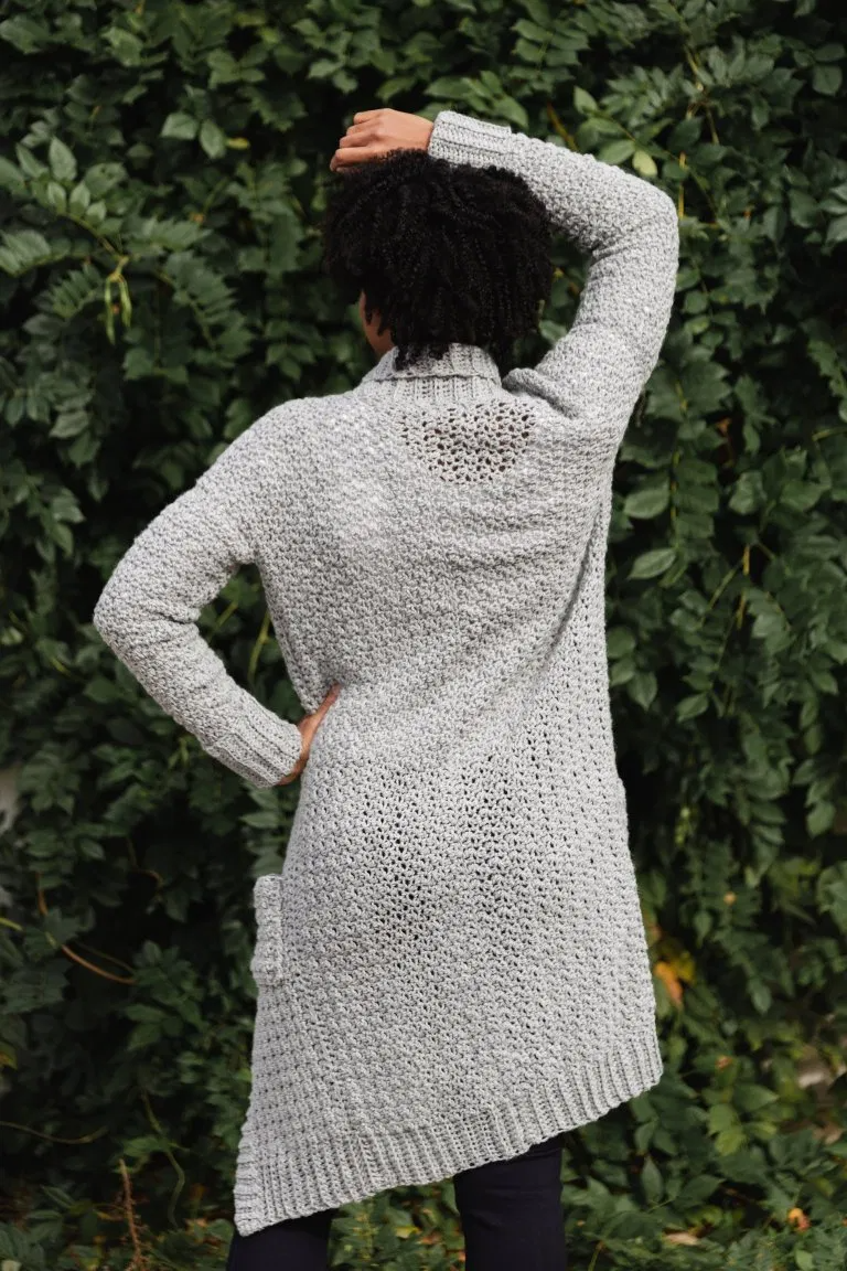 The Sweater Weather Cardi, a Long Modern Cozy Crochet Cardigan Pattern with Pockets | TL Yarn Crafts