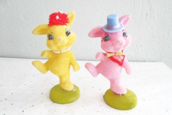 Pair of Flocked Dancing Bunnies Vintage by xmaspastnpresents