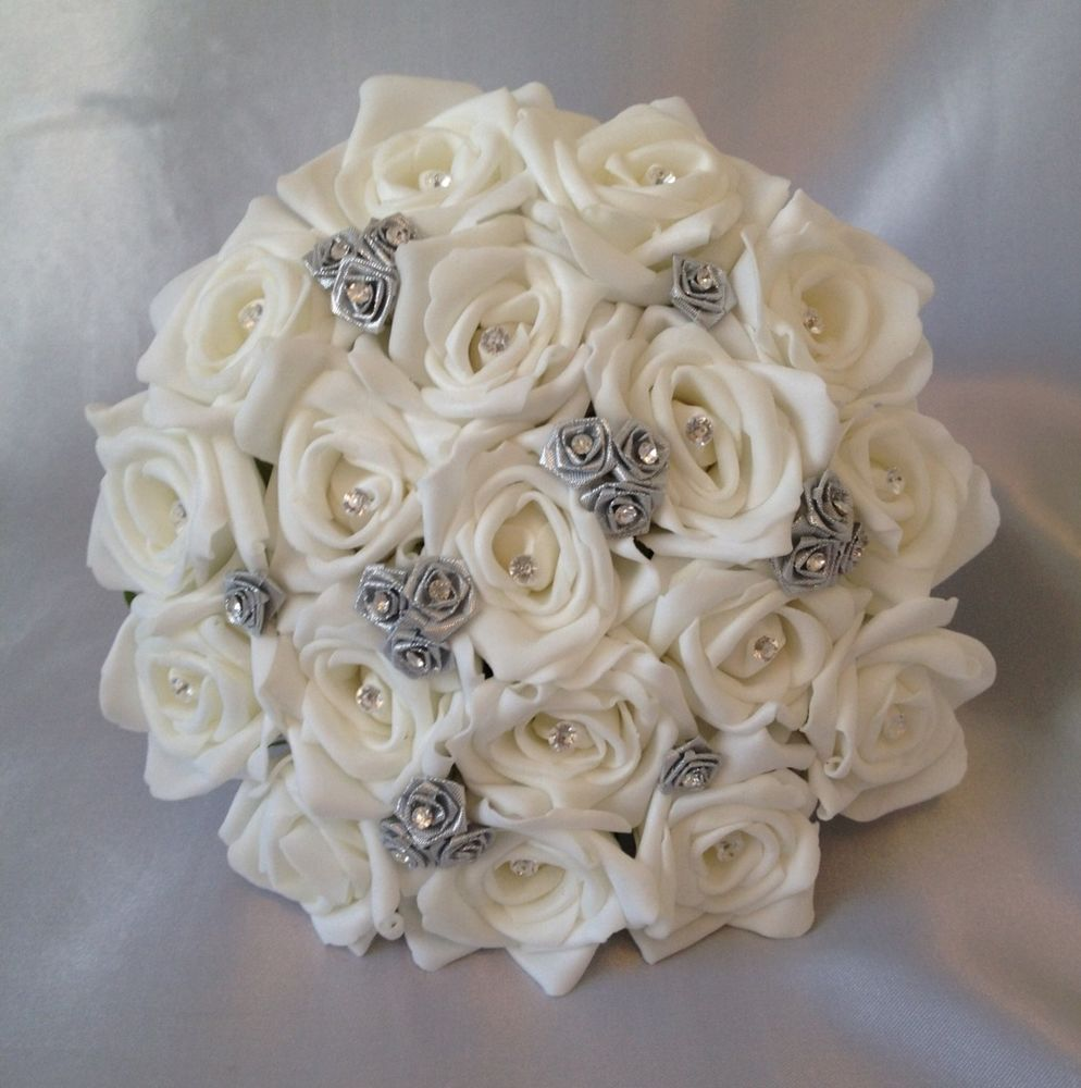 Flower Bouquet Pictures For Weddings: Artificial Wedding Flowers Silver White Foam Rose Wedding