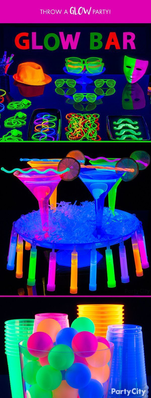 When the lights go out, the party's on. Let it glow all summer with glow sticks and drinkware from Party City! Throw a glow-in-the-dark party that will leave your guests with all the highlights. For added effect, illuminate your glow with fluorescent black lights. #partyideen