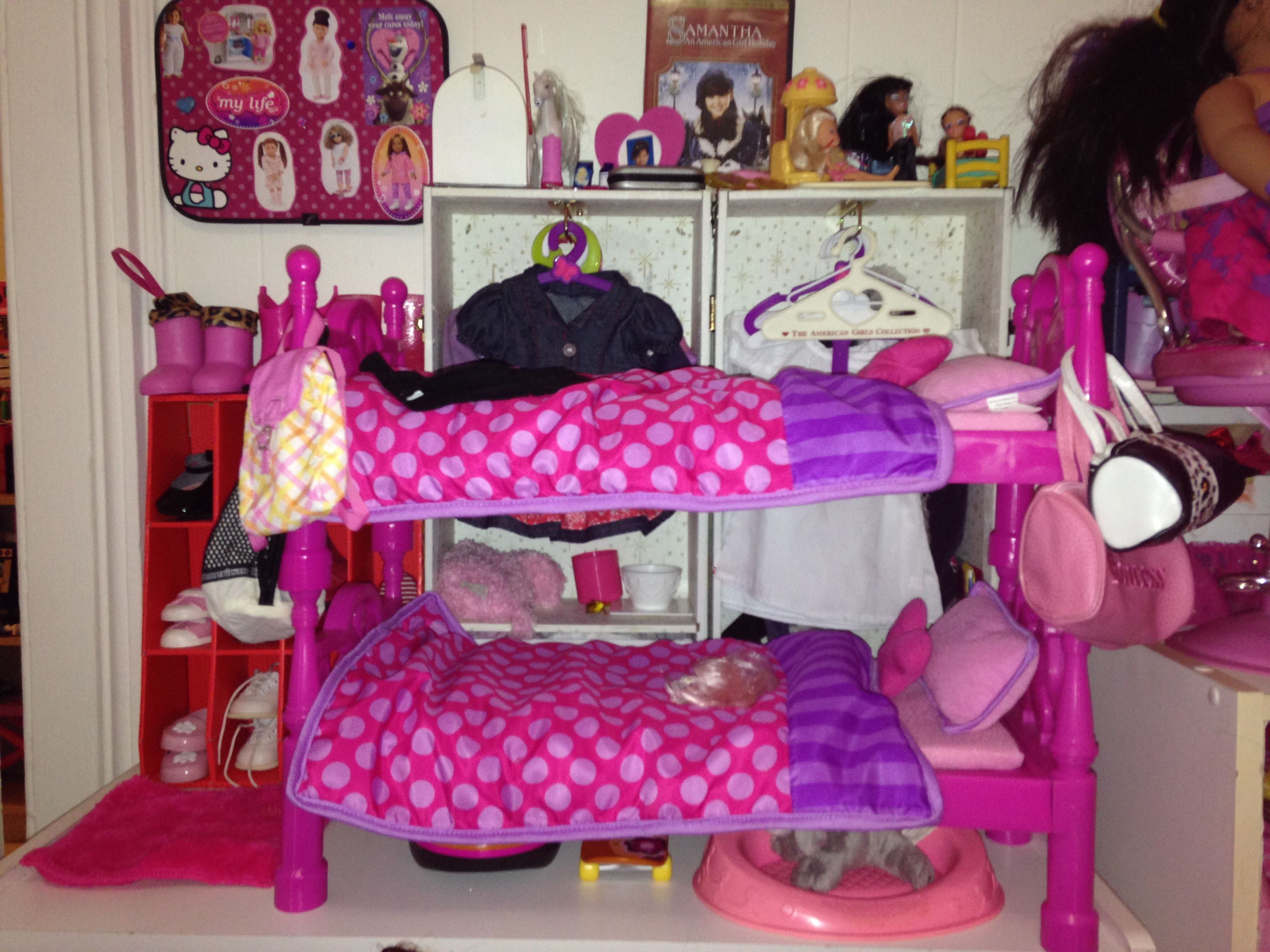 Bedroom 1 with the pink Walmart My Life As bunk beds