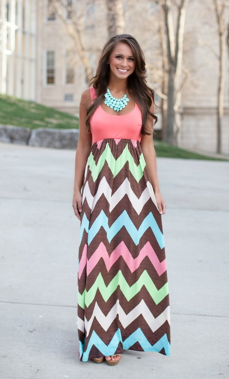 The Pink Lily Boutique - Coral Chevron Tank Maxi/ COMING SOON ...
