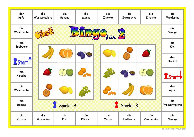 Bingo für 2 Spieler _ Obst Arbeitsblatt - Kostenlose DAF ...