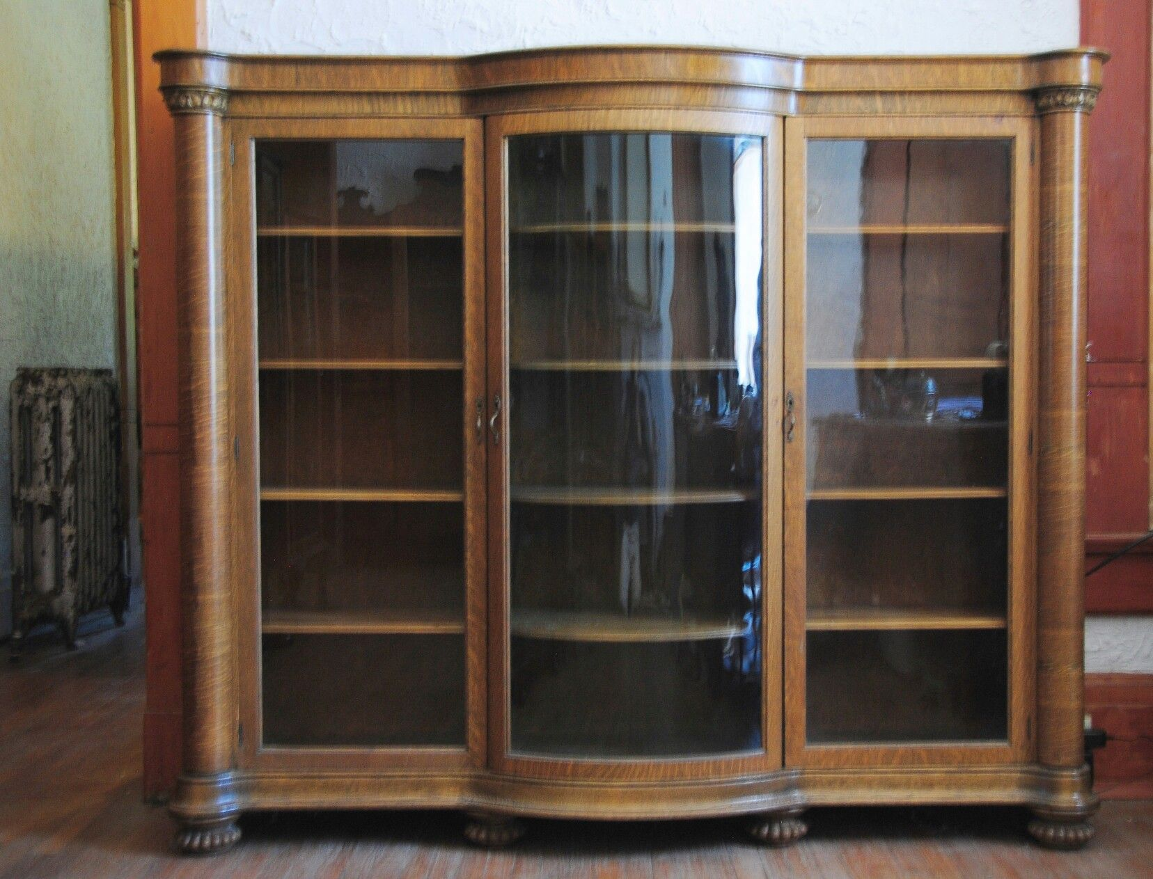 A Classical Design Triple Oak Bookcase From The 1890u0027s. There Is Three  Individual Banks With Adjustable Shelves. The Center Has Curved Glass Door  And ...
