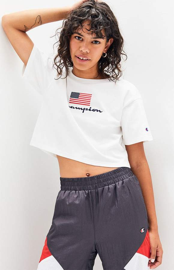 8f7800ff3813 Champion Logo Flag Cropped T-Shirt in 2019 | Products | Gym shorts ...