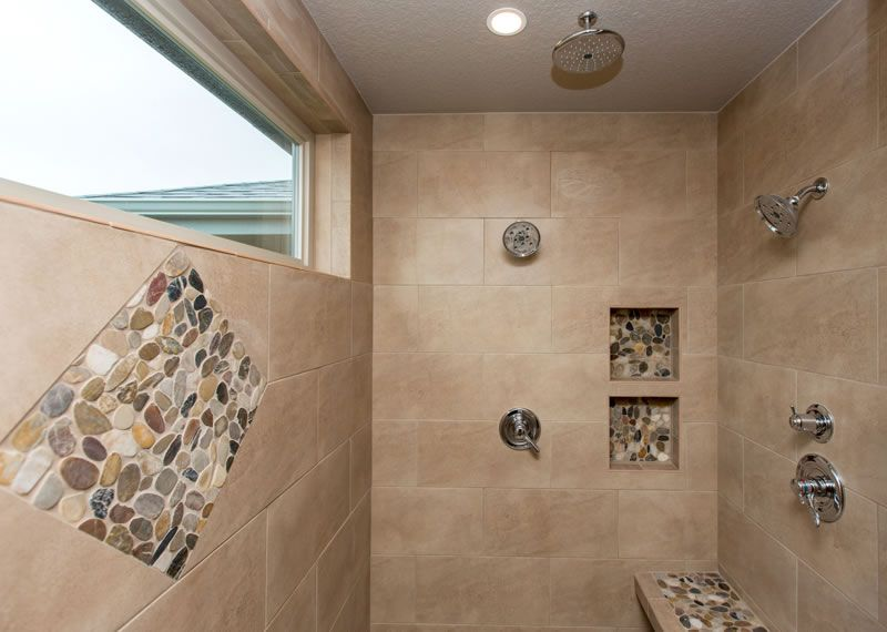 Shower Love Double Shower Heads Plus Rain Shower Head Above Bench Built In Product Nooks And All The Stone With Images Custom Home Builders Home Builders Custom Homes