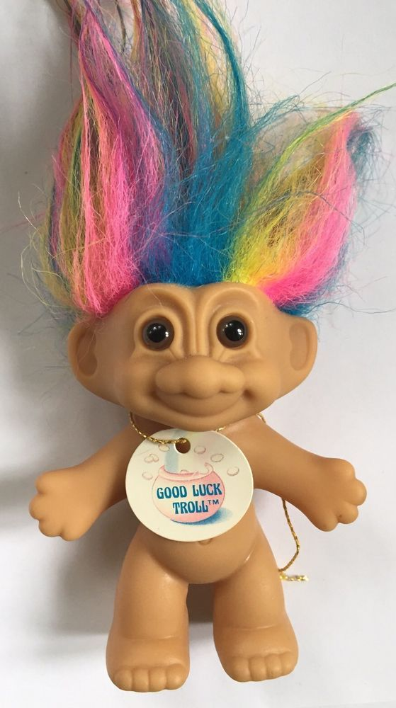 Vintage Russ Good Luck Troll Rainbow Hair Brown Eyes 18300