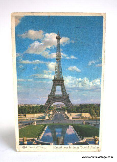 Eiffel Tower Vintage Postcard Paris France, 1970s TWA Postcard French Ephemera 1 Vintage Postcard, European Ephemera, Old Postcard, Parisian