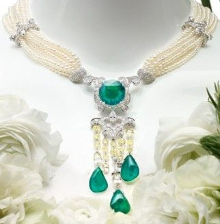 Cartier - emerald and pearl