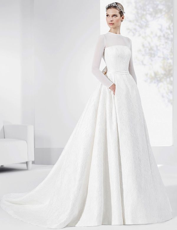 5e02933fd20 Unique Pearl Studded Netted Bodice Tulle Skirt Wedding Dress ...