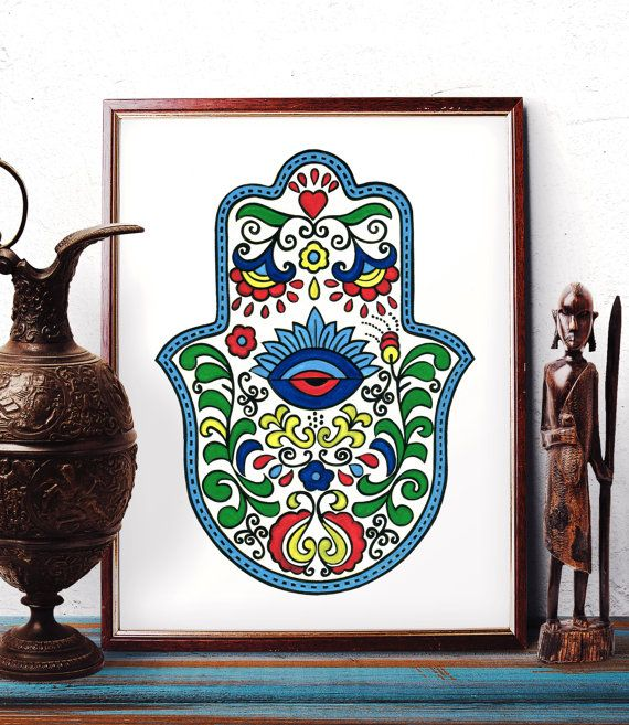 Hamsa Wall Art traditional armenian hamsa wall art eye design watercolor painting