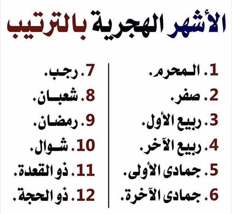 الأشهر العربية الهجرية Islamic Inspirational Quotes Islam Facts Islamic Quotes Quran