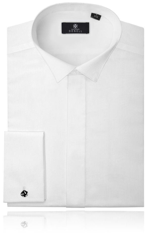 Dobell Smokinghemd Schlichte Hemdbrust Wei/ß
