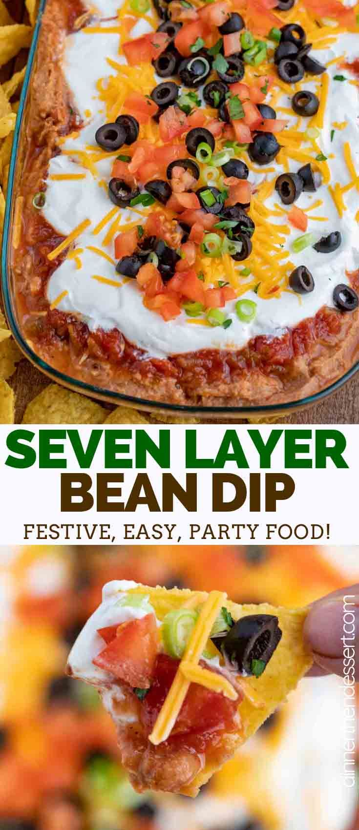 Seven Layer Bean Dip is the ultimate party dip, made with seasoned refried beans and layers of chee