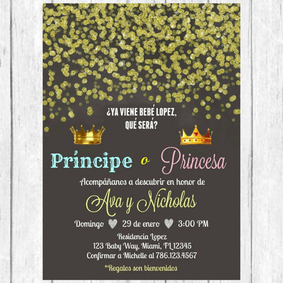 Christmas Party Invitation Wording Holiday Dinner Funny Birthday In Spanish Prince Princess Gold Confetti Gender Reveal