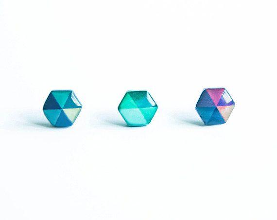 Hexagon earrings studs, small earrings studs, geometric hex earrings by Lepun on Etsy https://www.etsy.com/listing/161410038/hexagon-earrings-studs-small-earrings