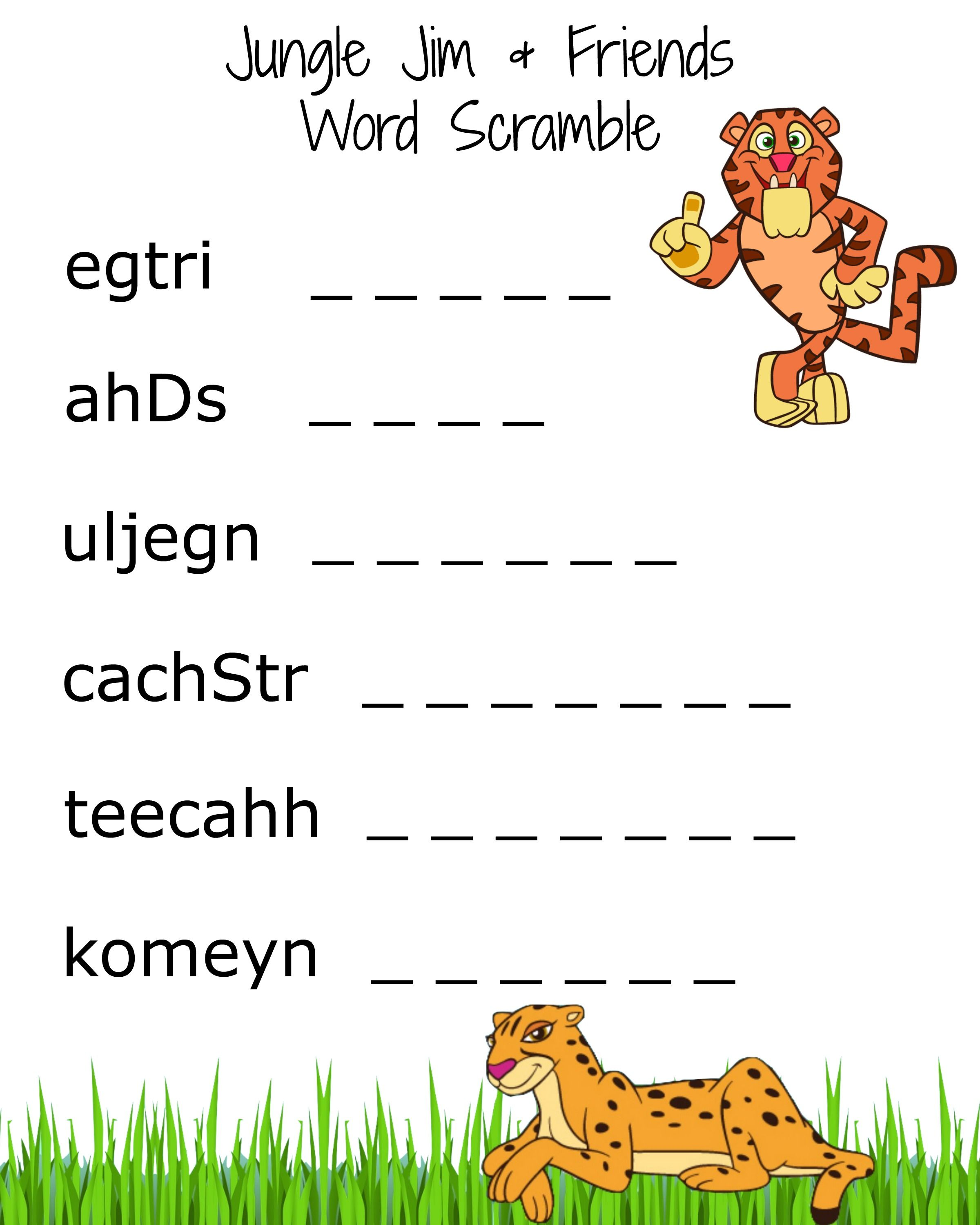 Fun And Free Printable Word Scramble About Jungle Jim And