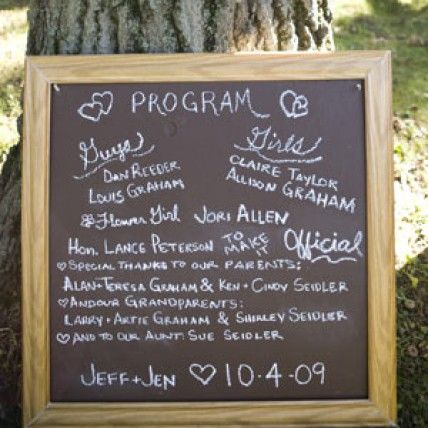 alternative to wedding programs | Creative Wedding Chalkboard Ideas