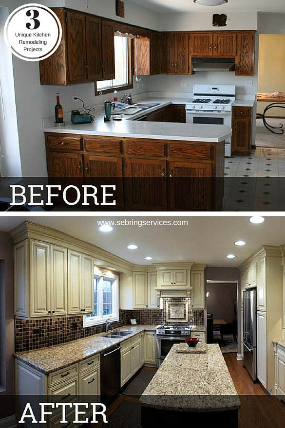 Before after 3 unique kitchen remodeling projects for Updated kitchen remodels
