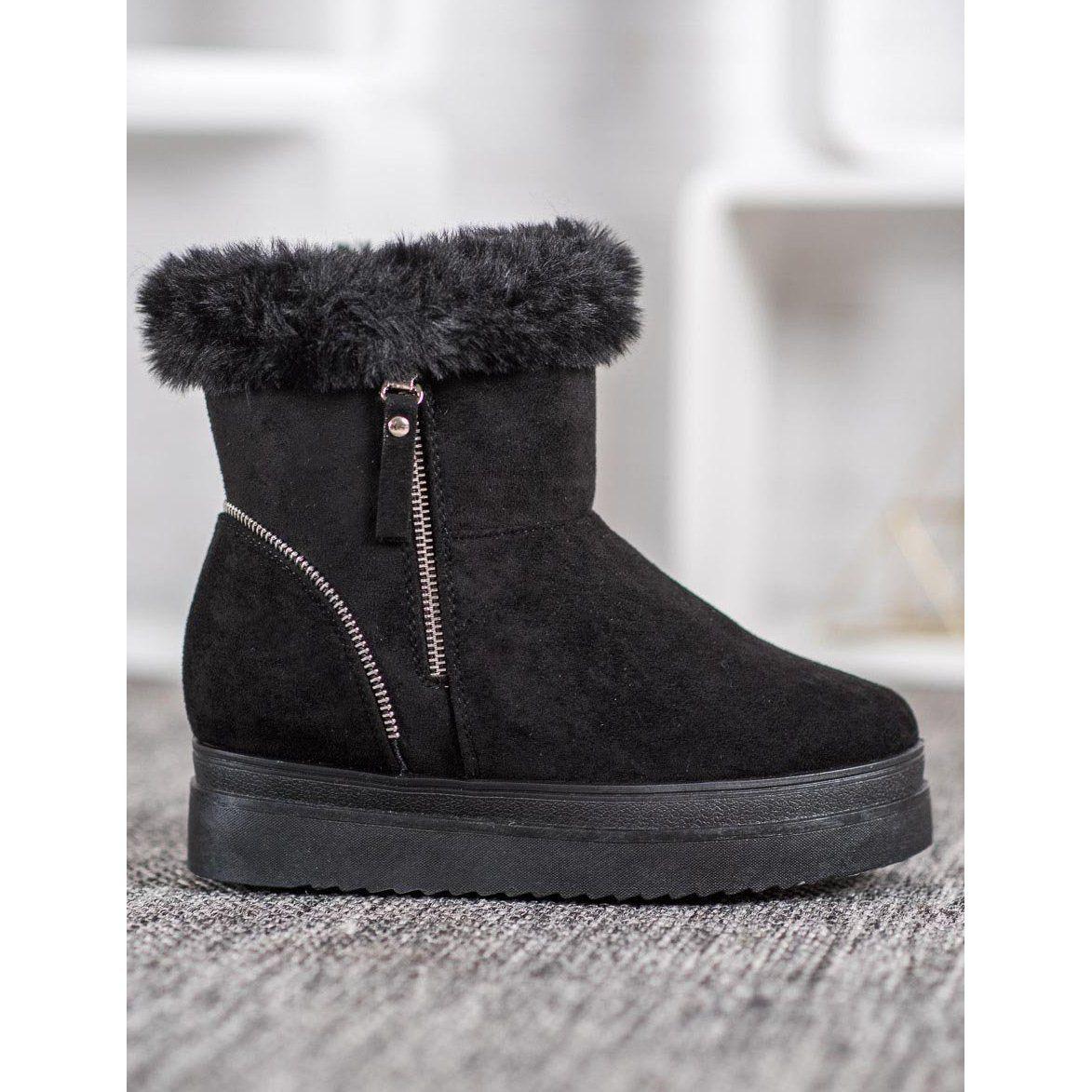 Shelovet Czarne Sniegowce Na Platformie Boots Winter Boot Shoes