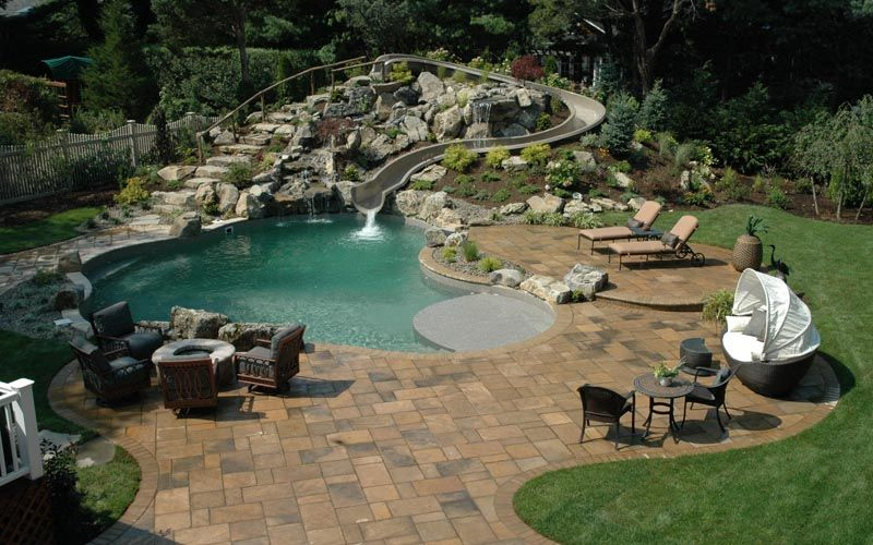 Backyard Pool Designs With Slides cool deck for pools |lang pools inc. · more info | things i